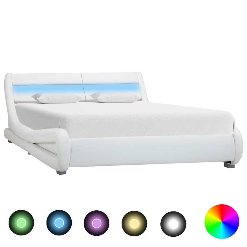 Bedframe met LED kunstleer wit 120x200 cm