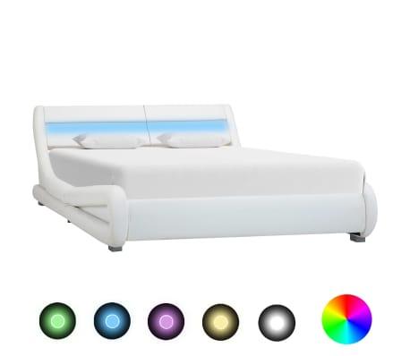 vidaXL Lovos rėmas su LED, baltos spalvos, 160x200cm, dirbtinė oda[1/8]