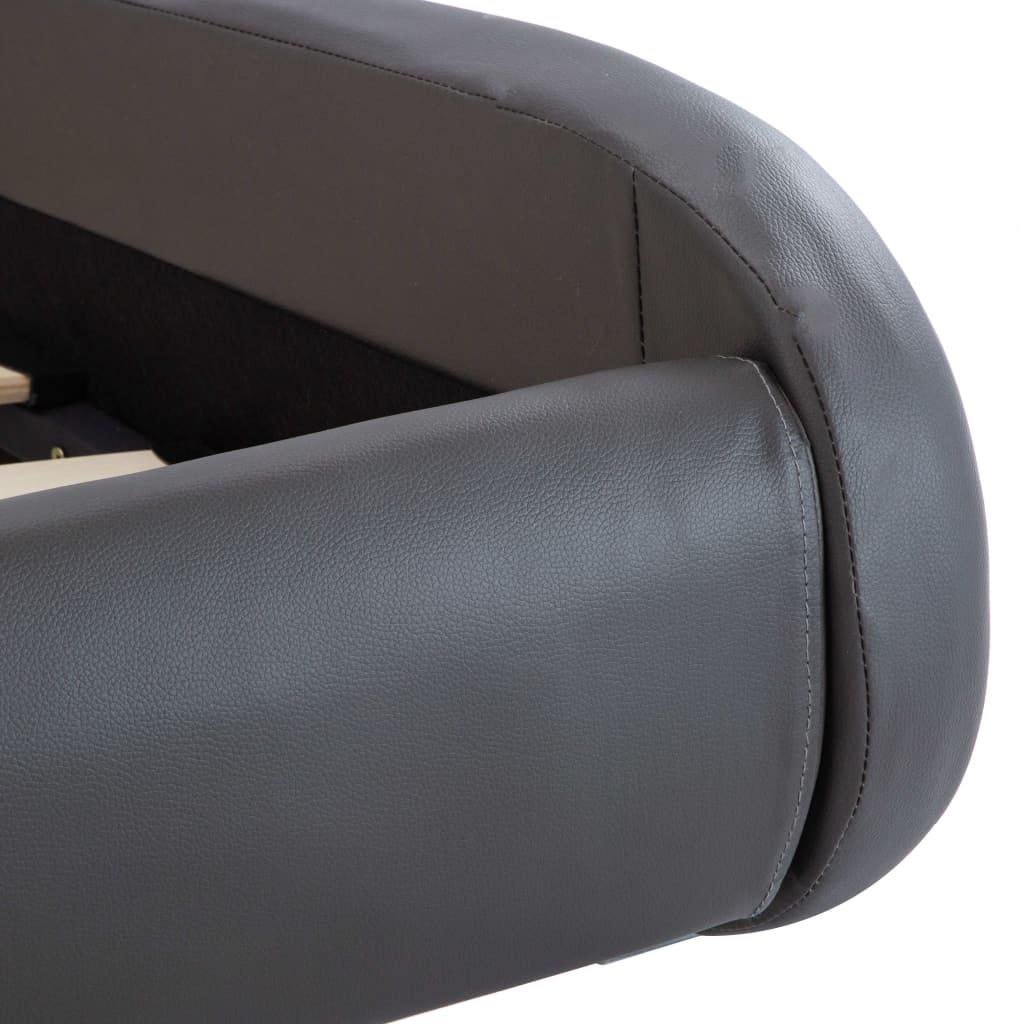 vidaXL Bedframe met LED kunstleer grijs 100x200 cm