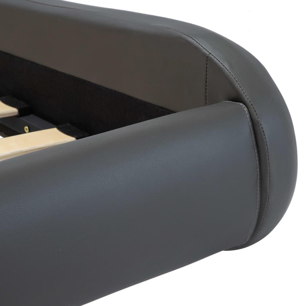 vidaXL Bedframe met LED kunstleer grijs 140x200 cm