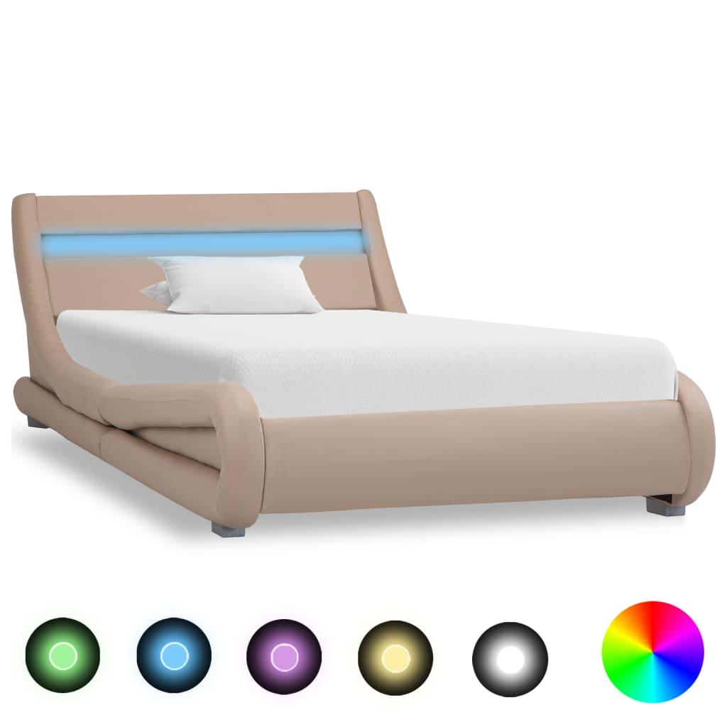 vidaXL Bedframe met LED kunstleer cappuccino 100x200 cm