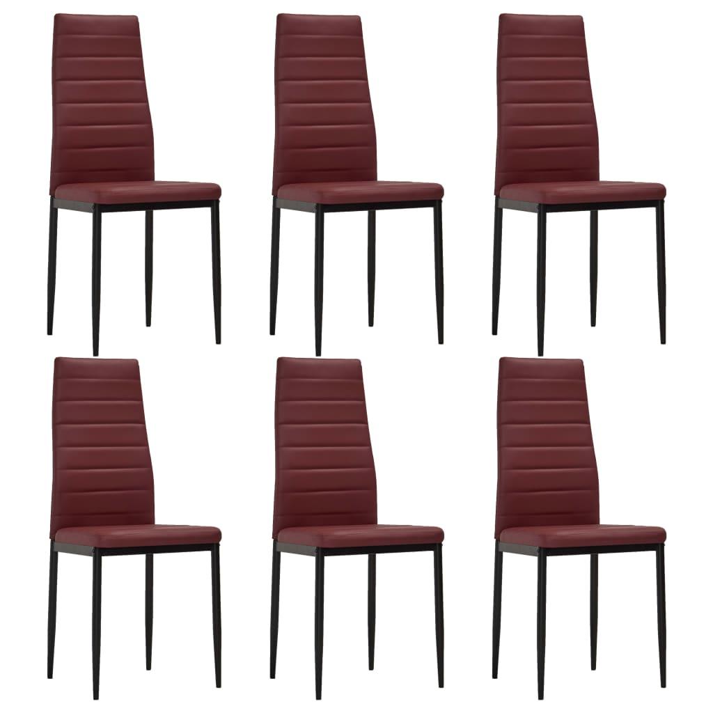 vidaXL Καρέκλες Τραπεζαρίας 6 τεμ. Μπορντό από Συνθετικό Δέρμα