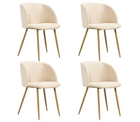 vidaXL Chaise de salle à manger 4 pcs Crème Tissu