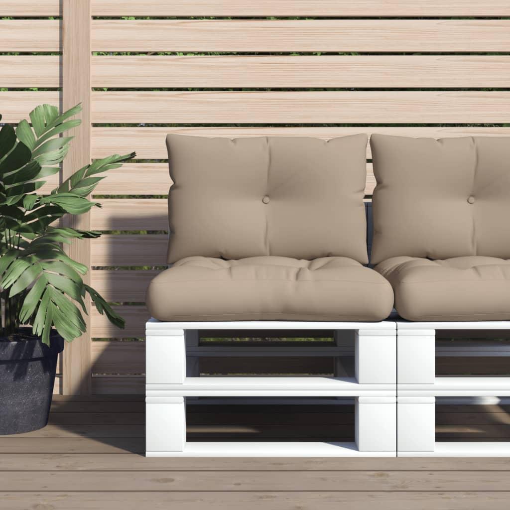 vidaXL Perne de canapea din paleți, 2 buc., gri taupe, material textil poza 2021 vidaXL
