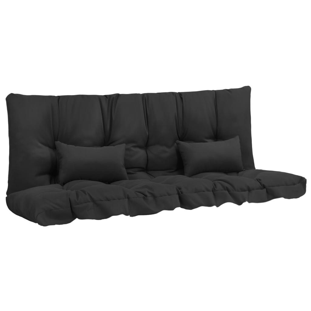 vidaXL 4-daļīgs matraču komplekts šūpuļkrēslam, melns audums