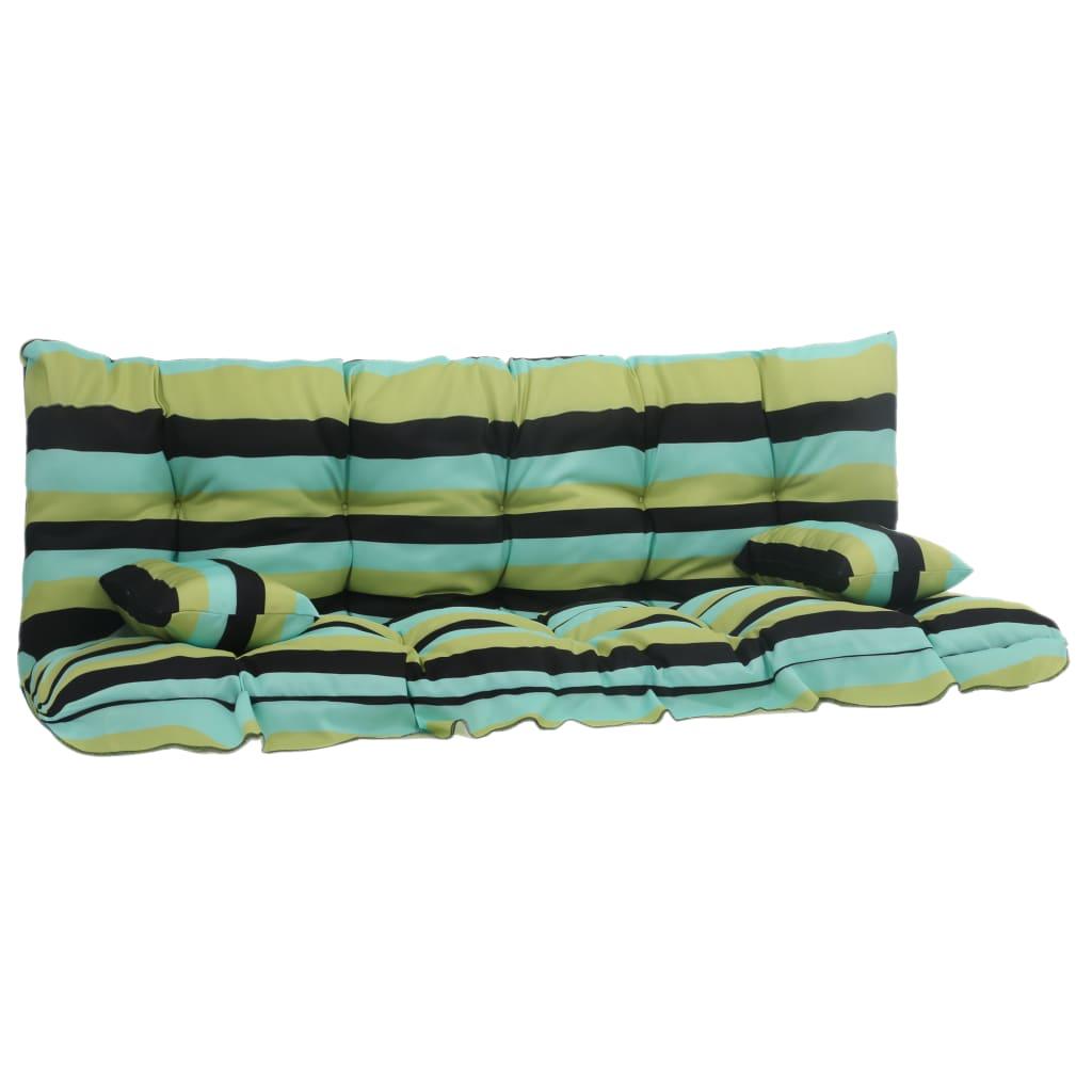 vidaXL 4-daļīgs matraču komplekts šūpuļkrēslam, zaļš audums