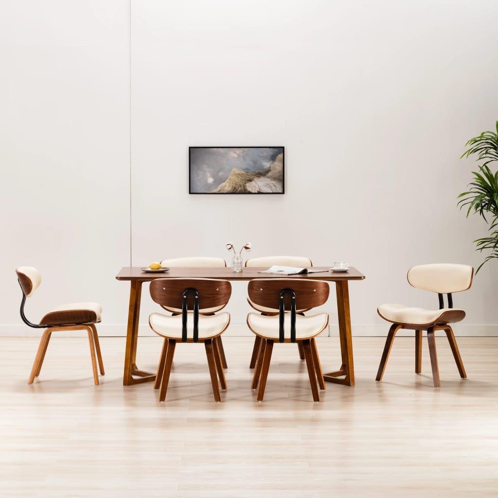 vidaXL Blagovaonske stolice 6 kom savijeno drvo i umjetna koža krem