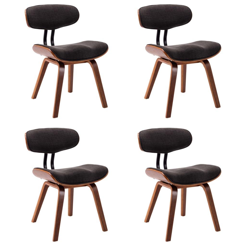 vidaXL Καρέκλες Τραπεζαρίας 4 τεμ. Γκρι από Λυγισμένο Ξύλο και Ύφασμα