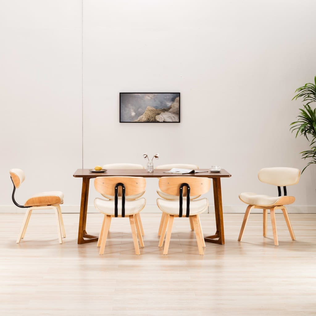 vidaXL Scaune de bucătărie, 6 buc, crem, lemn curbat & piele ecologică vidaxl.ro