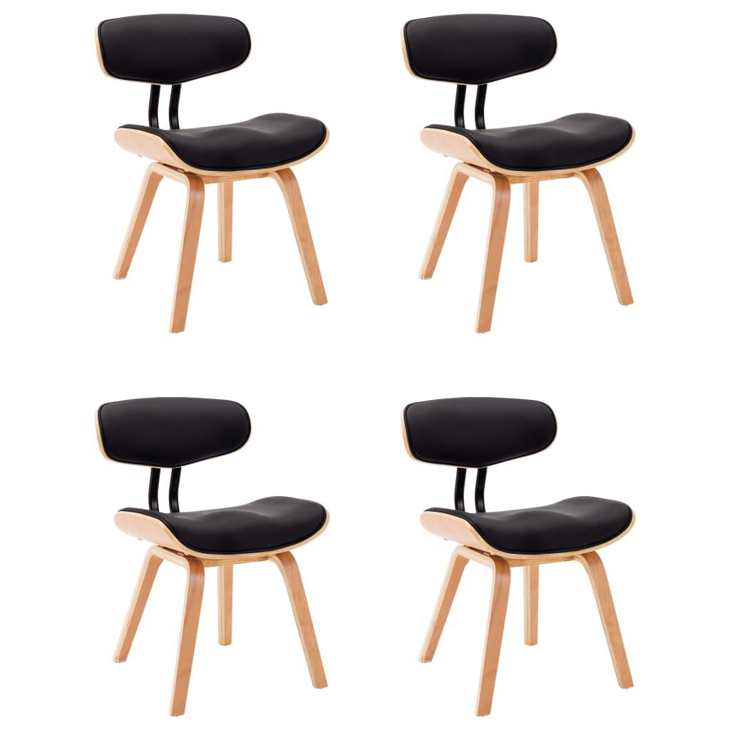 vidaXL Καρέκλες Τραπεζαρίας 4 τεμ. Μαύρες Λυγισμ. Ξύλο/Συνθετικό Δέρμα
