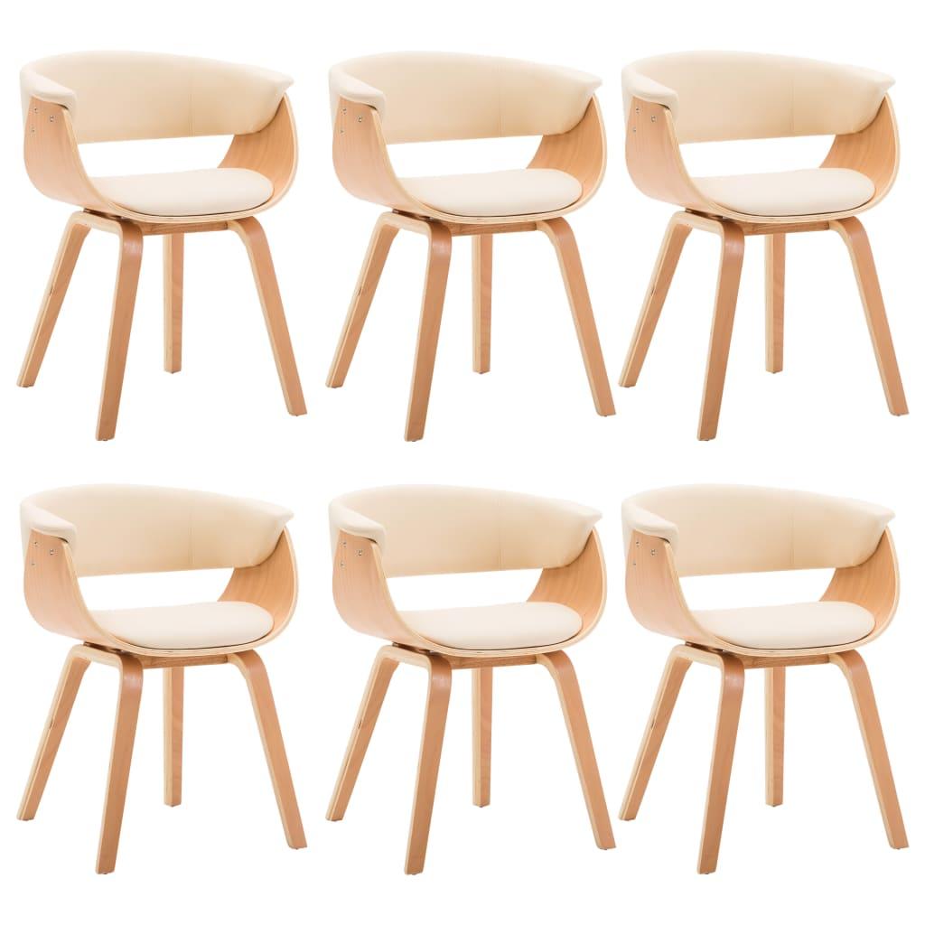 vidaXL Καρέκλες Τραπεζαρίας 6 τεμ. Κρεμ Λυγισμένο Ξύλο/Συνθετικό Δέρμα