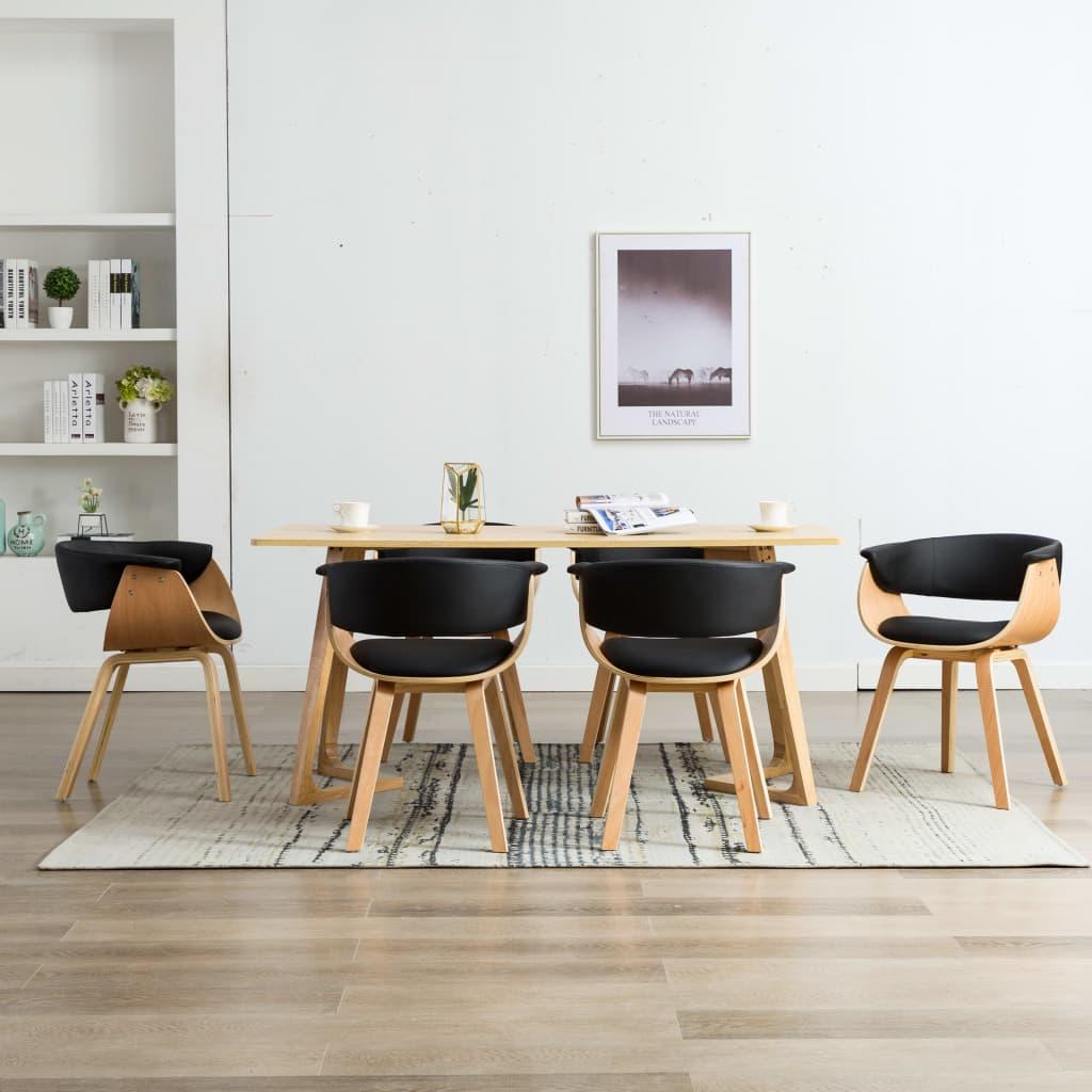 vidaXL Scaune de bucătărie, 6 buc negru, lemn curbat & piele ecologică vidaxl.ro