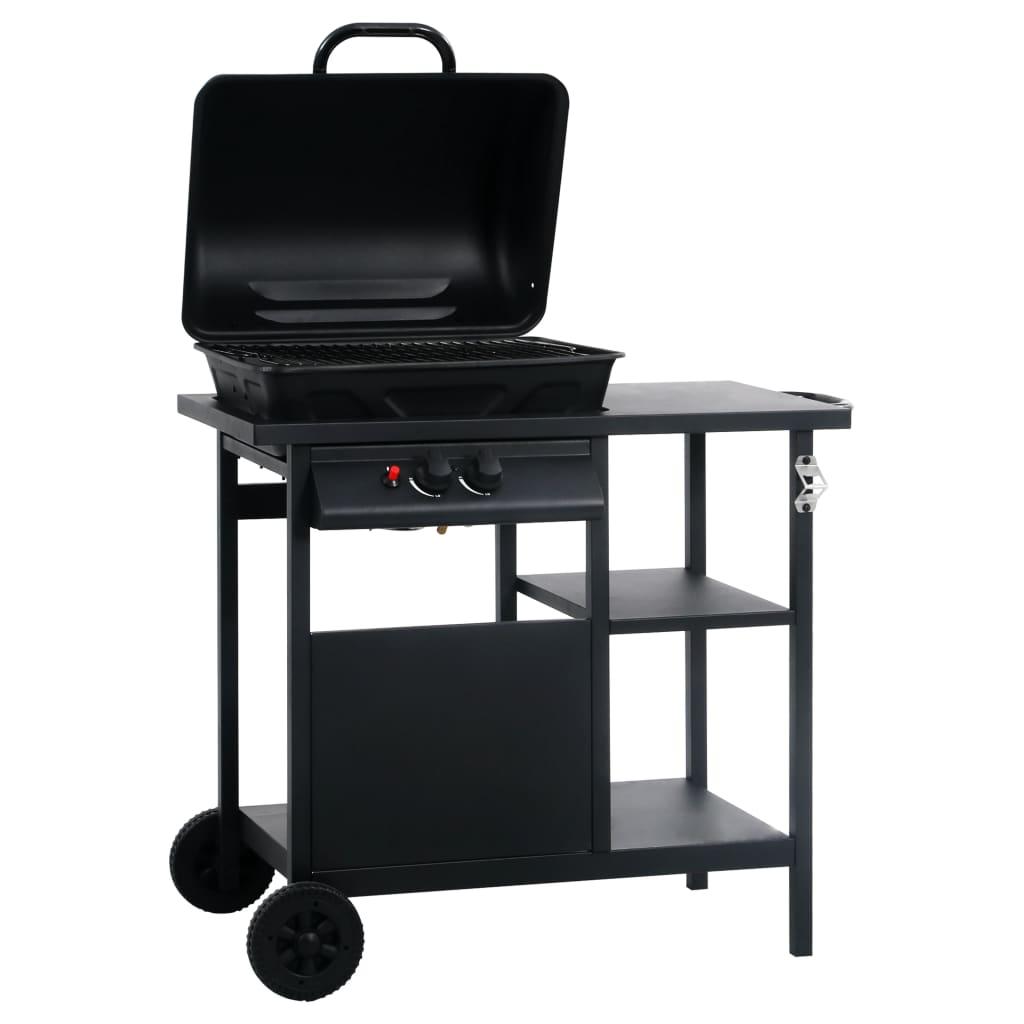 vidaXL Gasbarbecue met 3-laags zijtafel zwart