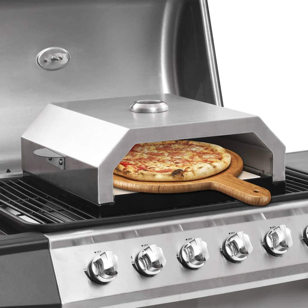 vidaXL Cuptor de pizza cu piatră ceramică pentru grătar gaz, cărbuni imagine vidaxl.ro