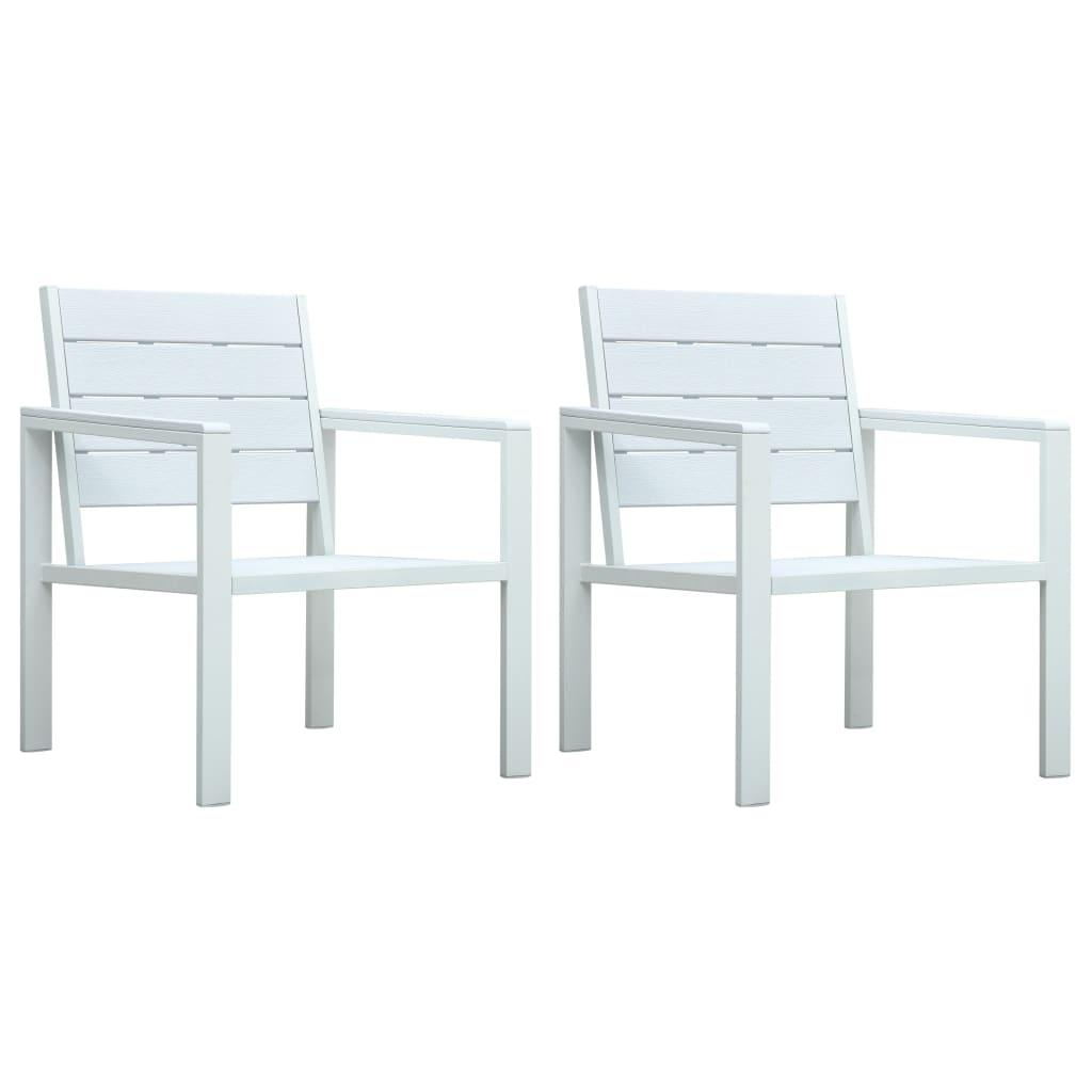 vidaXL Krzesła ogrodowe, 2 szt., białe, HDPE o wyglądzie drewna