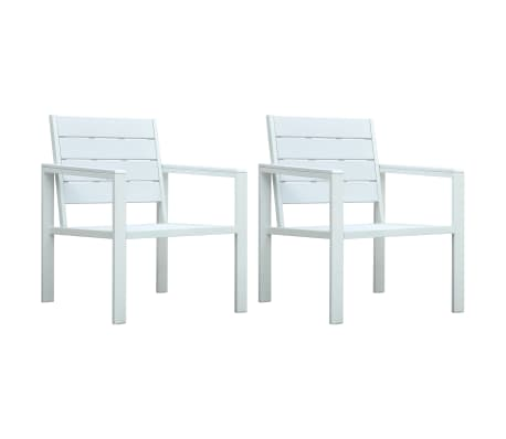 Sedie Da Giardino Bianche.Vidaxl Sedie Da Giardino 2 Pz Bianche In Hdpe Aspetto Legno