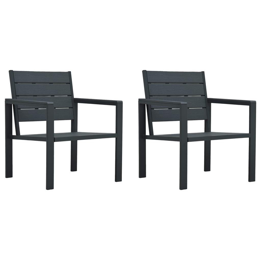 vidaXL Krzesła ogrodowe, 2 szt., szare, HDPE o wyglądzie drewna