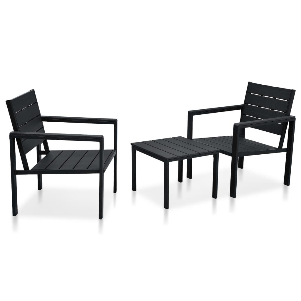 vidaXL Set mobilier de bistro, 3 piese, negru, HDPE, aspect lemn vidaxl.ro