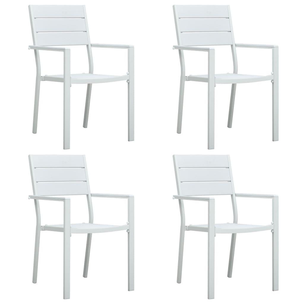 vidaXL Krzesła ogrodowe, 4 szt., białe, HDPE o wyglądzie drewna
