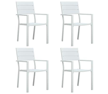 Sedie Da Giardino Bianche.Vidaxl Sedie Da Giardino 4 Pz Bianche In Hdpe Aspetto Legno