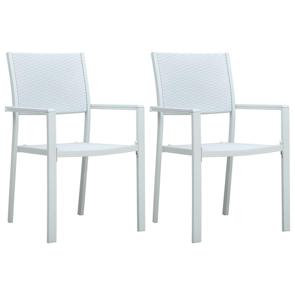 vidaXL Καρέκλες Κήπου 2 τεμ. Λευκές με Όψη Ρατάν Πλαστικές