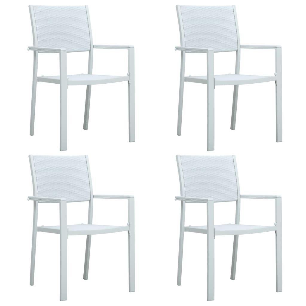 vidaXL Καρέκλες Κήπου 4 τεμ. Λευκές με Όψη Ρατάν Πλαστικές