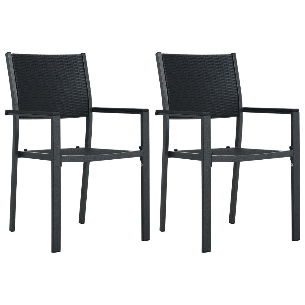 Zahradní židle 2 ks černé plast ratanový vzhled