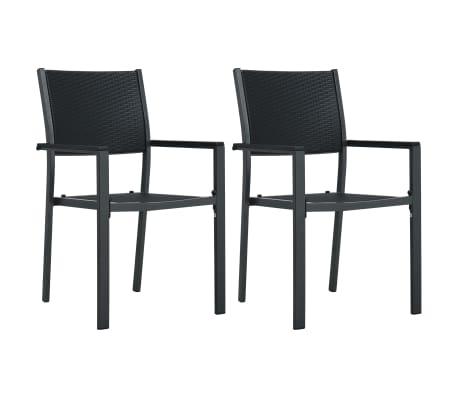 vidaXL Gartenstühle 2 Stk. Schwarz Kunststoff Rattan-Optik