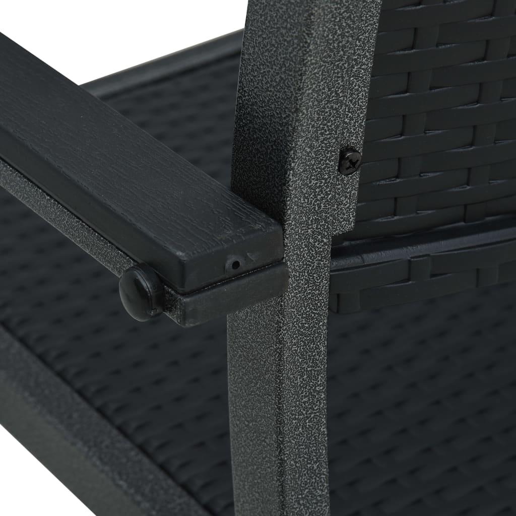 vidaXL Tuinstoel 2 st rattan-look kunststof zwart