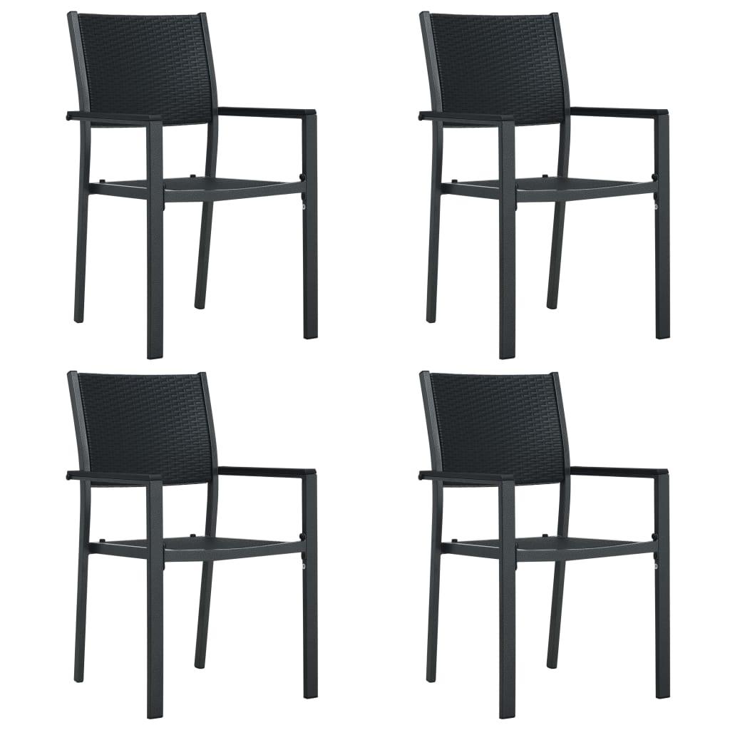 vidaXL Krzesła ogrodowe, 4 szt., czarne, plastik stylizowany na rattan
