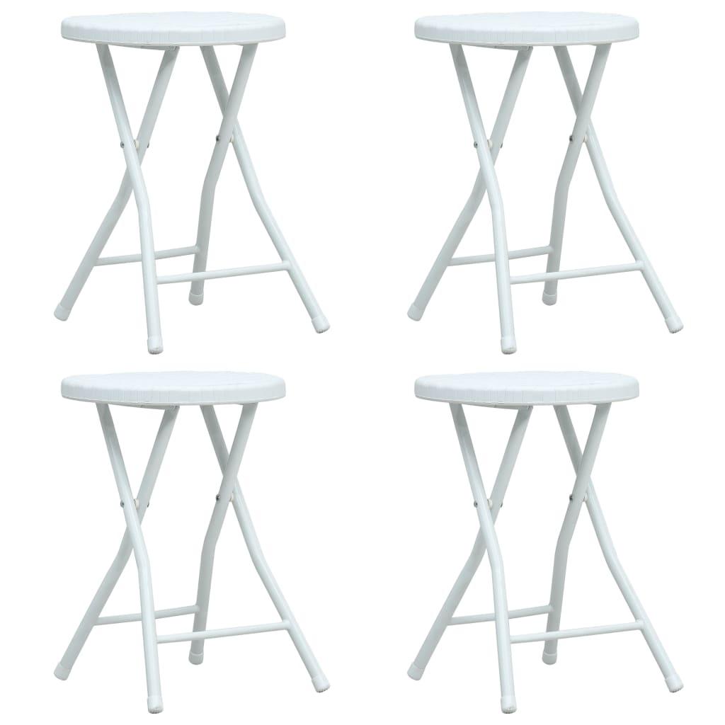 Skládací zahradní stoličky 4 ks bílé HDPE ratanový vzhled