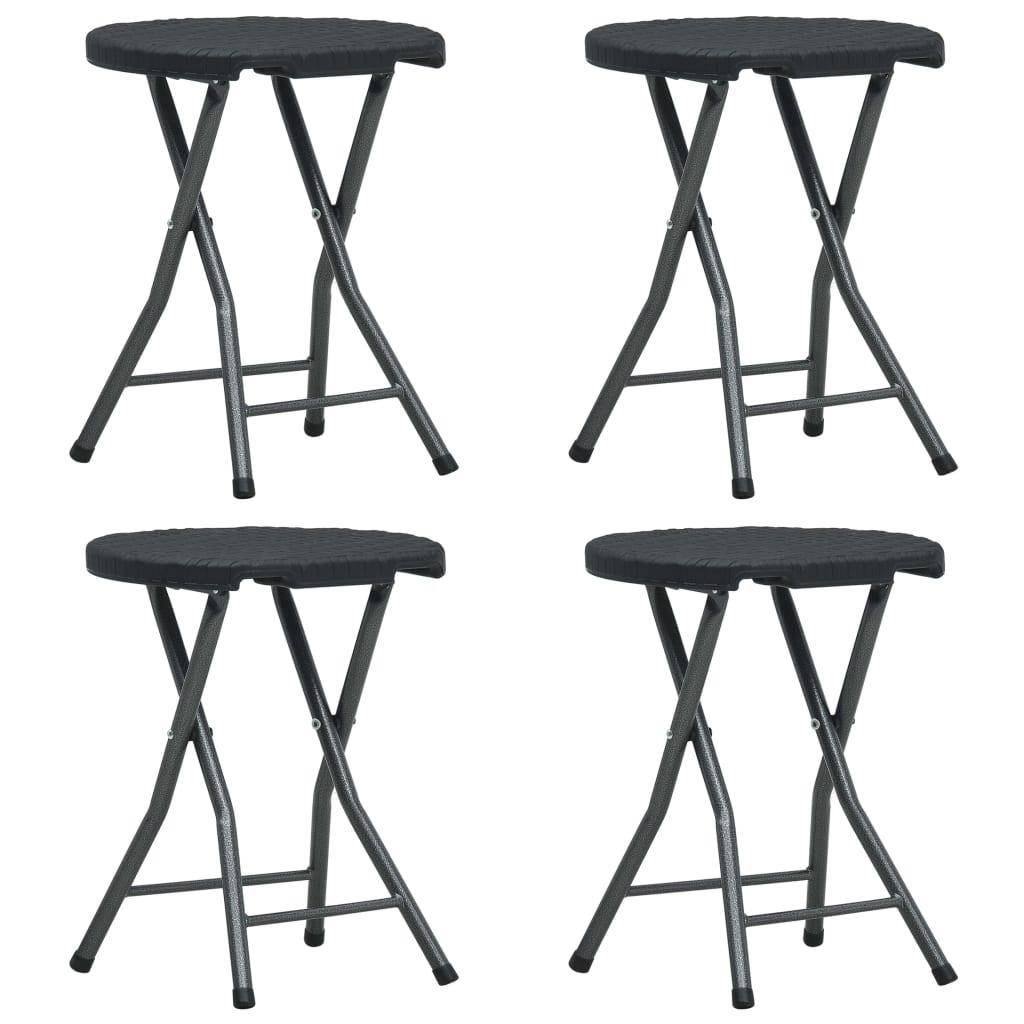 Skládací zahradní stoličky 4 ks černé HDPE ratanový vzhled