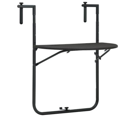 vidaXL Závěsný stůl na balkon hnědý 60x64x83,5 cm plast imitace ratanu