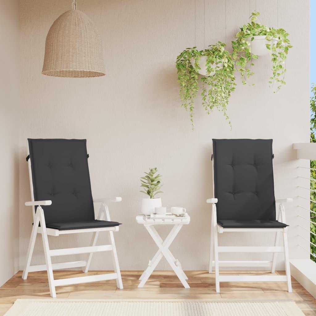 vidaXL Perne scaun de grădină, 2 buc., negru, 120 x 50 x 3 cm imagine vidaxl.ro