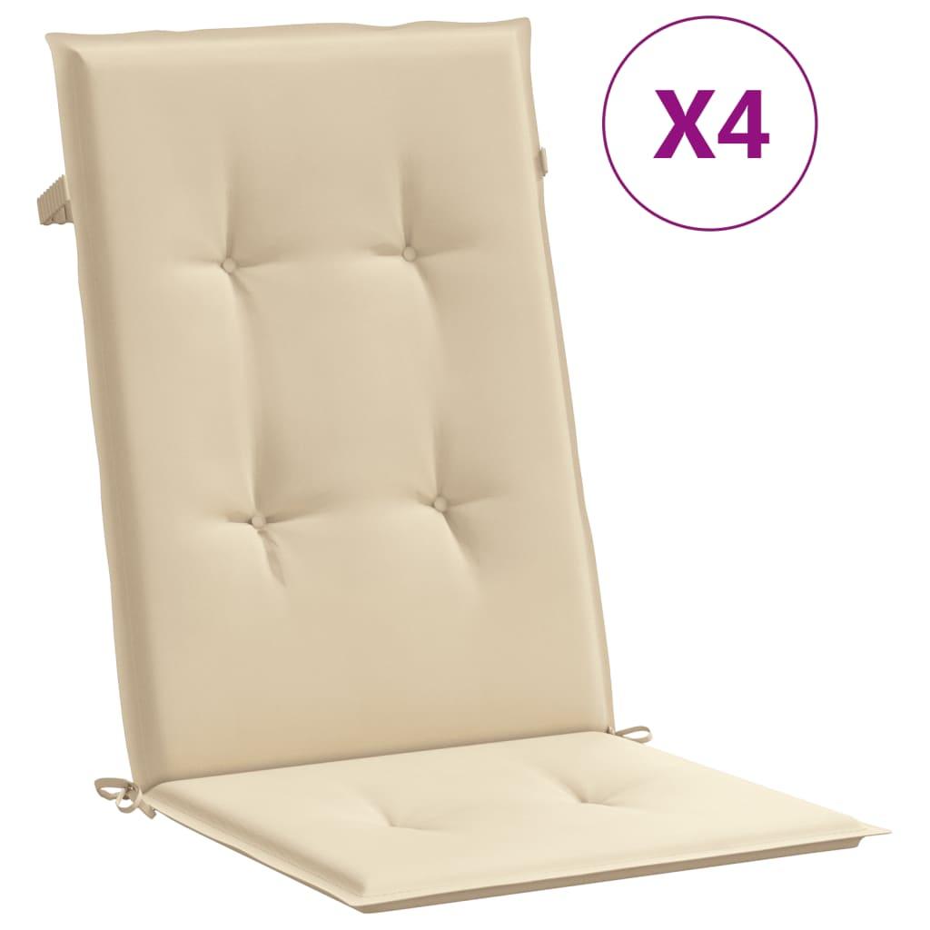vidaXL Perne scaun de grădină, 4 buc., bej, 120 x 50 x 3 cm vidaxl.ro