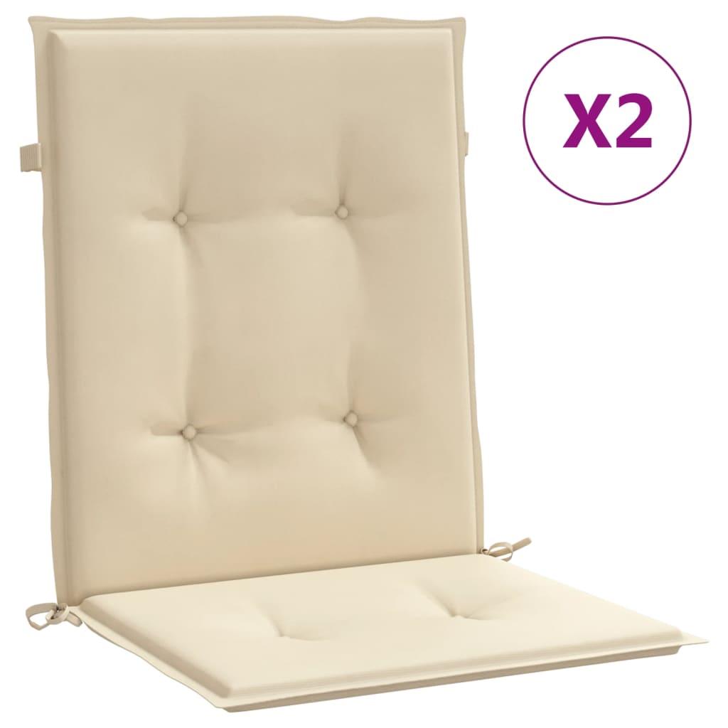 vidaXL Coussins de chaise de jardin 2 pcs Beige 100 x 50 x 3 cm