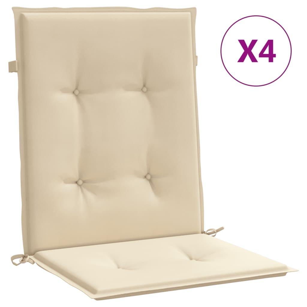vidaXL Μαξιλάρια Καρέκλας Κήπου με Πλάτη 4 τεμ. Μπεζ 100x50x3 εκ.