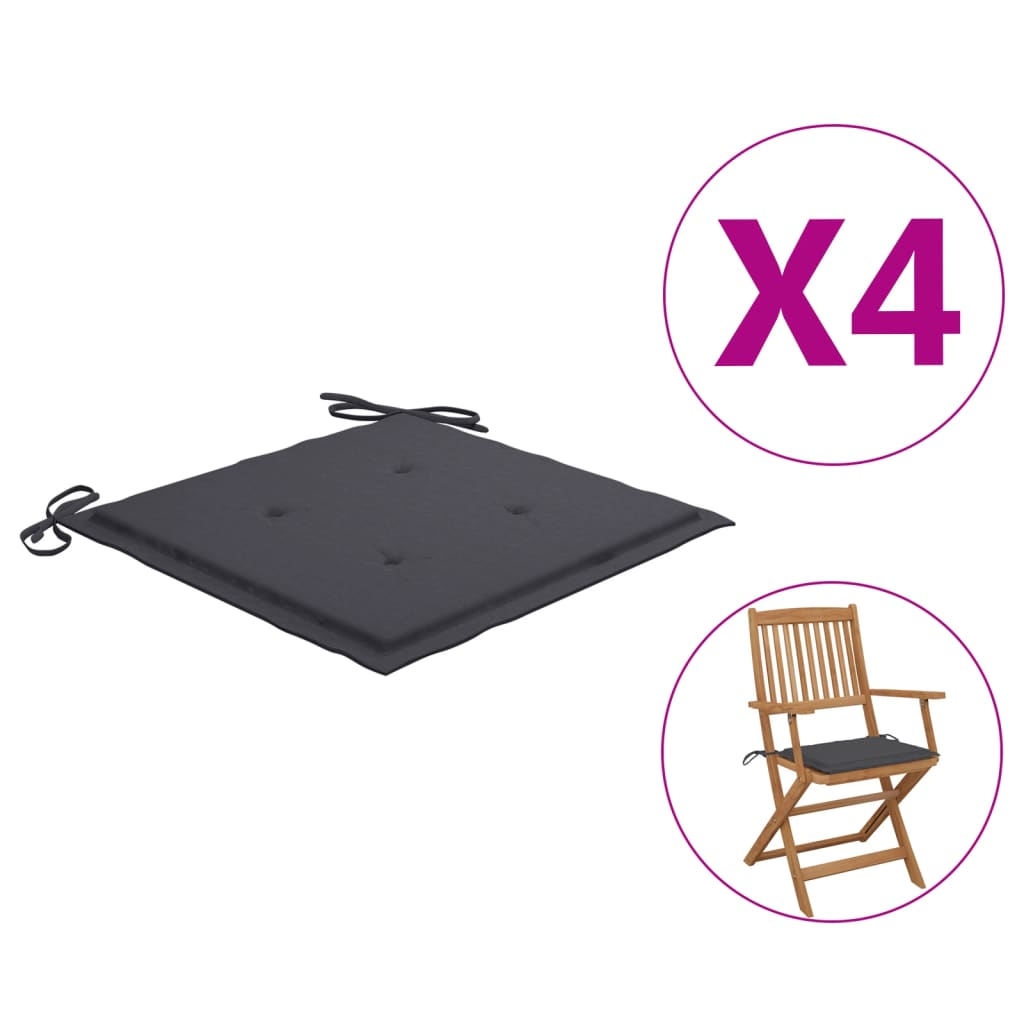 vidaXL Perne scaun de grădină, 4 buc., antracit, 40 x 40 x 3 cm poza vidaxl.ro