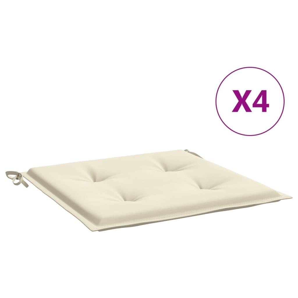 vidaXL Perne scaun de grădină, 4 buc., crem, 40 x 40 x 3 cm vidaxl.ro