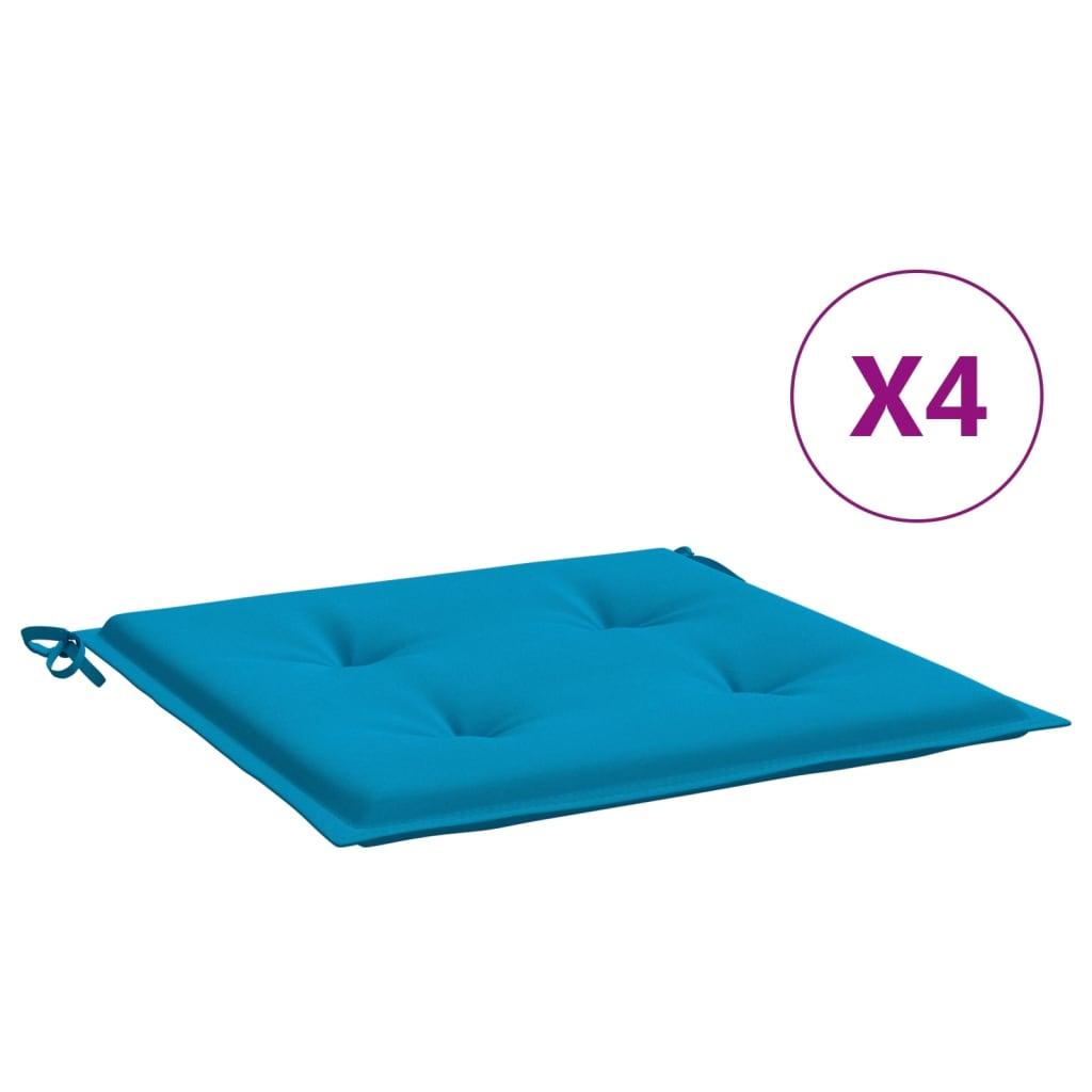 vidaXL Perne scaun de grădină, 4 buc., albastru, 40 x 40 x 3 cm vidaxl.ro