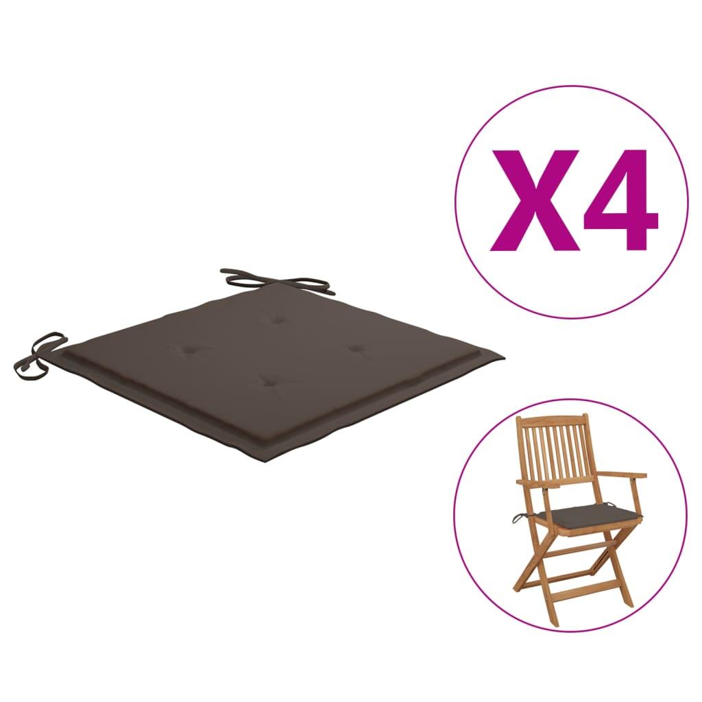 Polstry na zahradní židle 4 ks taupe 40 x 40 x 4 cm