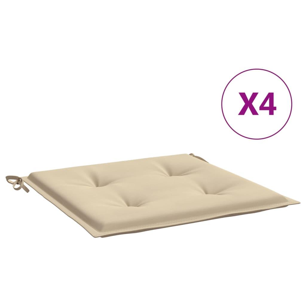 vidaXL Perne scaun de grădină, 4 buc., bej, 40 x 40 x 3 cm imagine vidaxl.ro