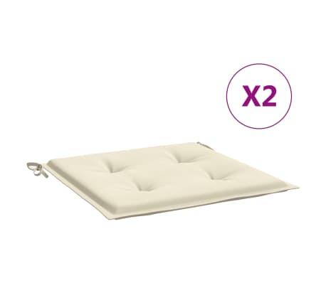 vidaXL Podušky na zahradní židle 2 ks krémové 50 x 50 x 3 cm
