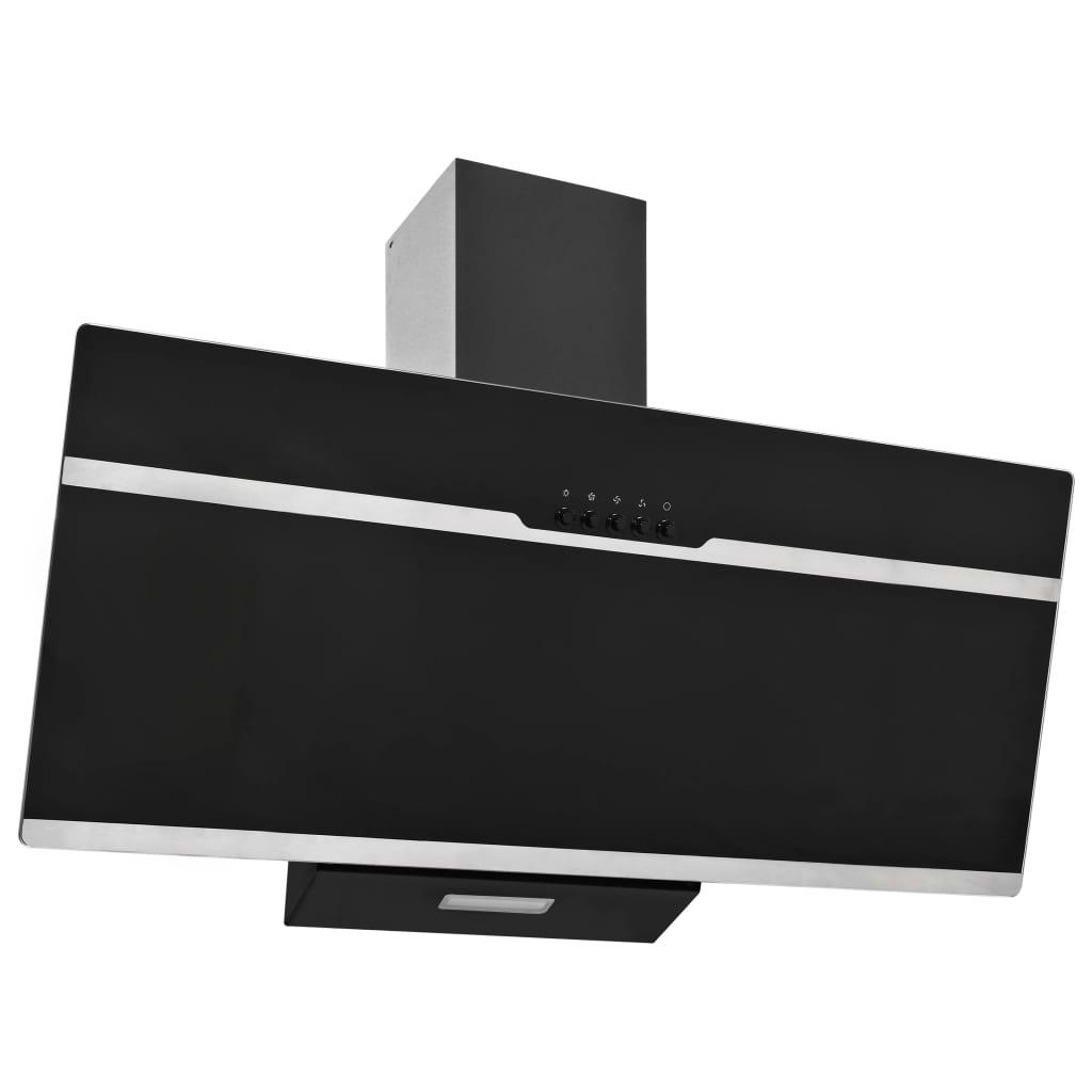 vidaXL Hotă de perete negru 90 cm oțel inoxidabil și sticlă securizată poza vidaxl.ro