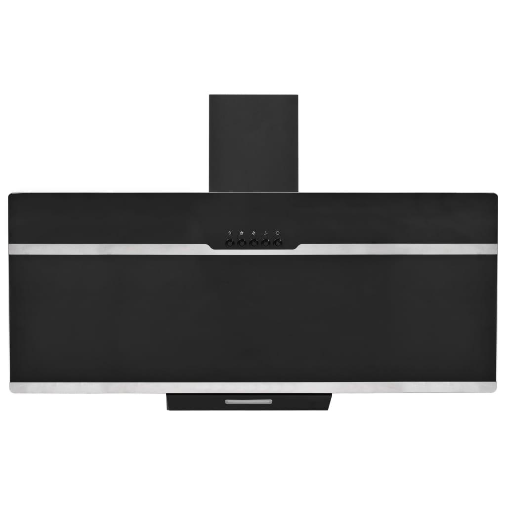 vidaXL Wandafzuigkap 90 cm roestvrij staal en gehard glas zwart