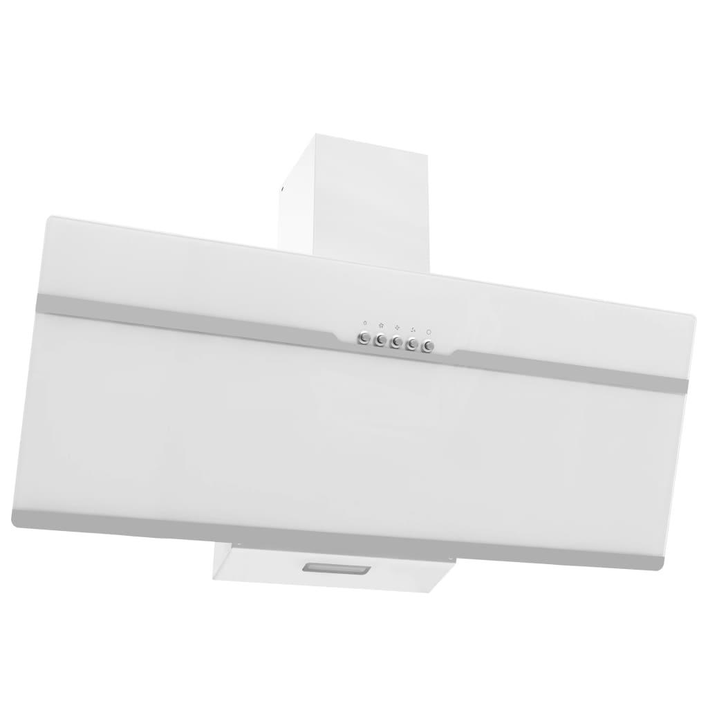 vidaXL Hotă de perete alb 90 cm oțel inoxidabil și sticlă securizată poza vidaxl.ro