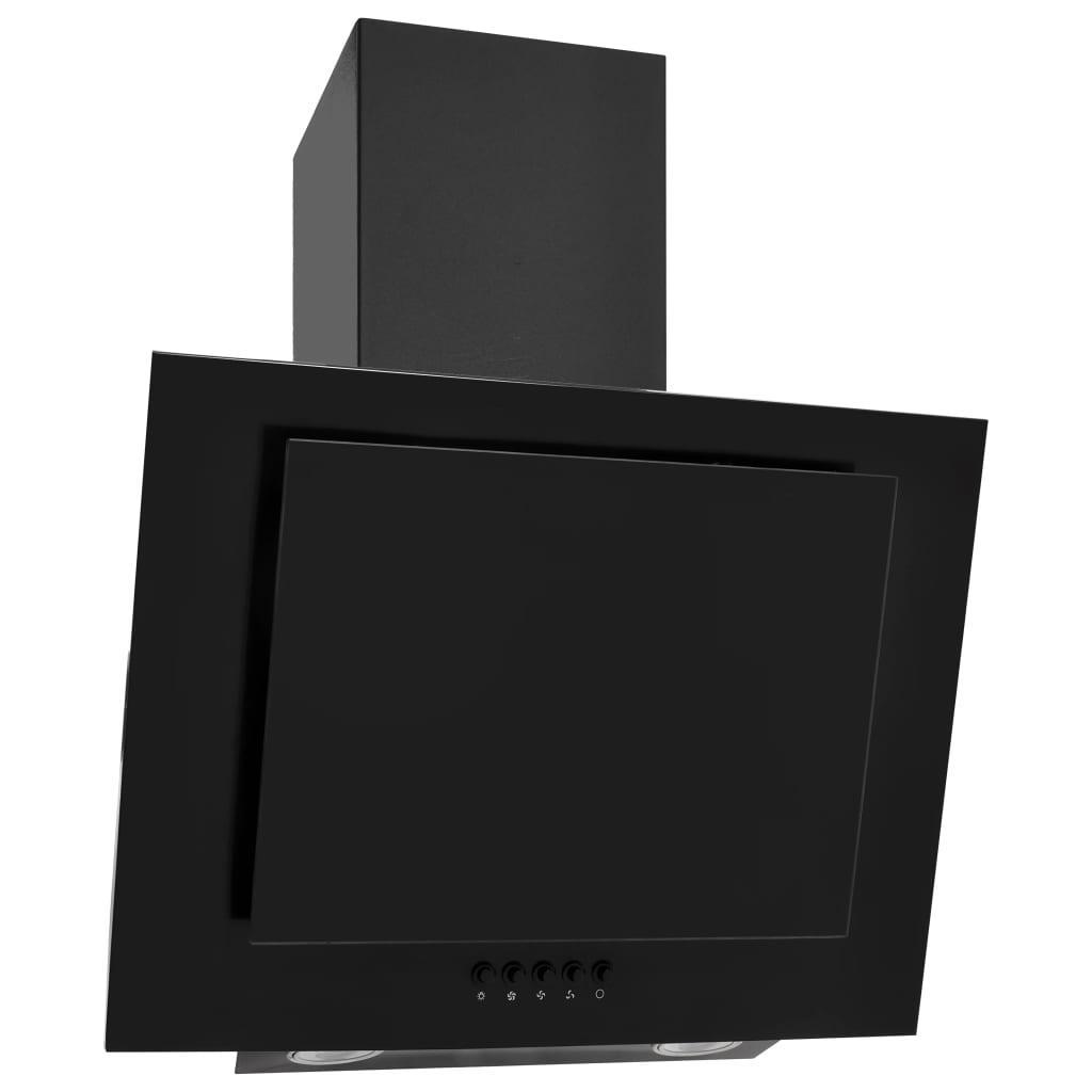 vidaXL Hotă de perete negru 60 cm oțel inoxidabil și sticlă securizată poza vidaxl.ro
