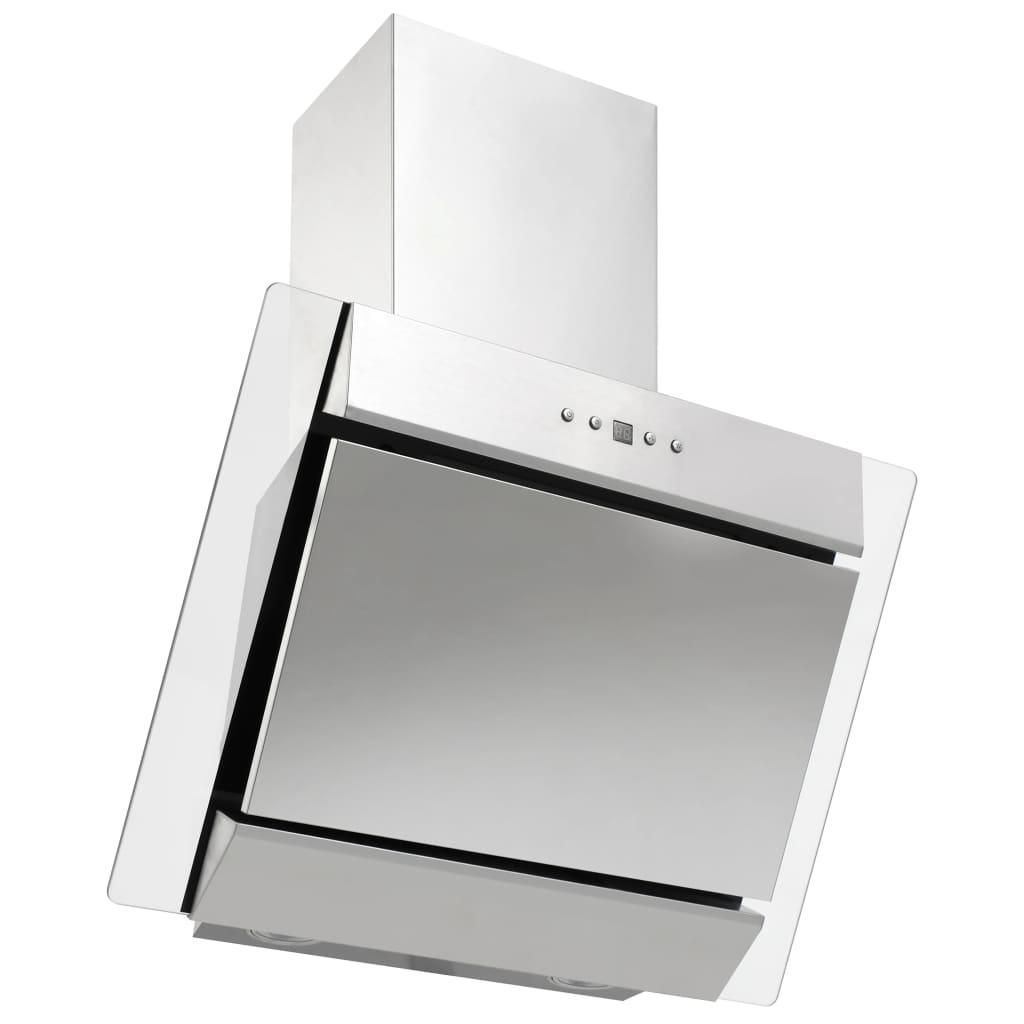 Nástěnná digestoř 60 cm nerezová ocel a tvrzené sklo stříbrná