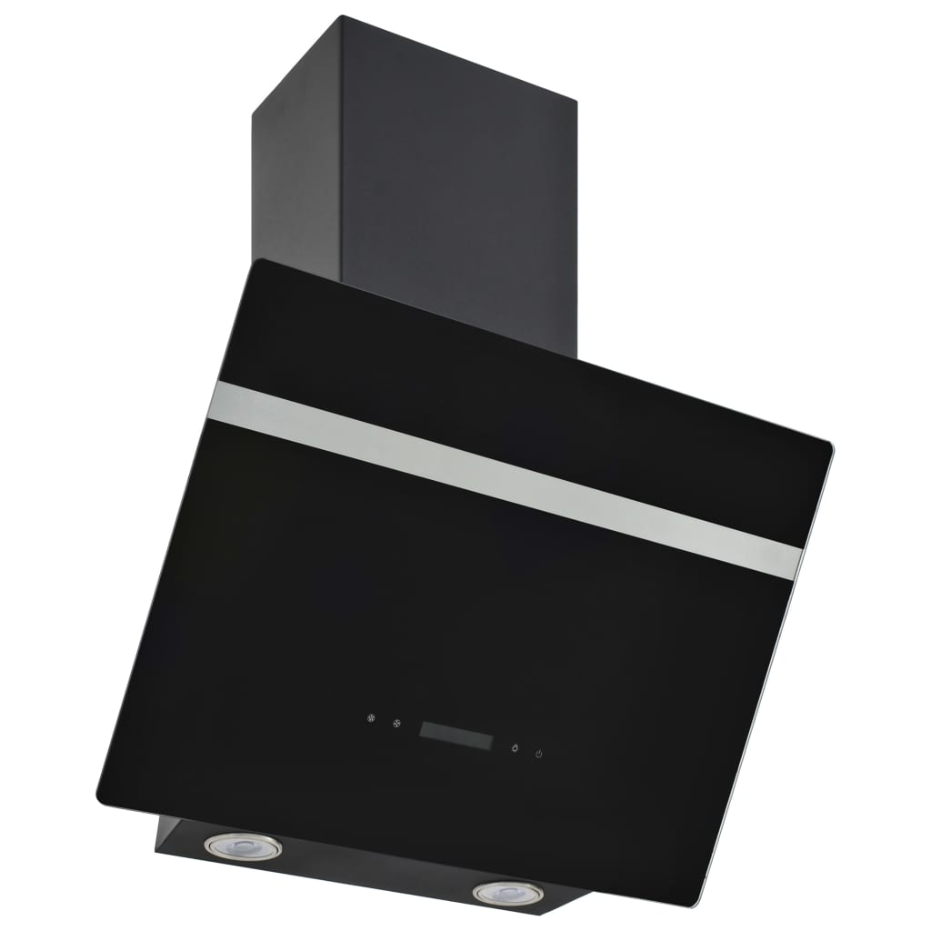 vidaXL Απορροφητήρας Τοίχου Μαύρος 60 εκ. Ανοξ. Ατσάλι & Ψημένο Γυαλί