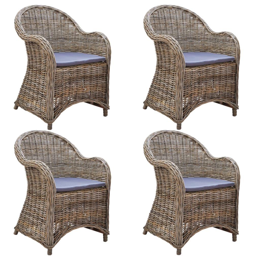 vidaXL Krzesła ogrodowe z poduszkami, 4 szt., naturalny rattan